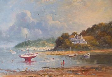 Richard Blowey Original Oil Painting Coastal Scene With Boats